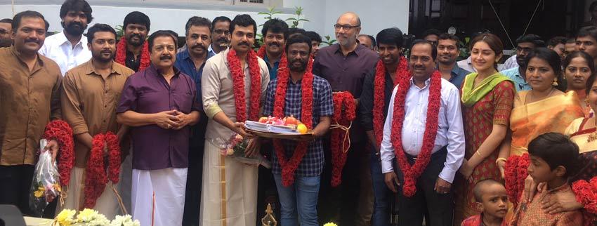 Actor Karthi's Next movie kickstarted:  directed by Pandiraj, Suriya's productions